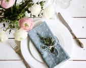 Linen napkins set of 6 - Stone washed linen napkin - Blue polka dot napkins - Dinner napkins