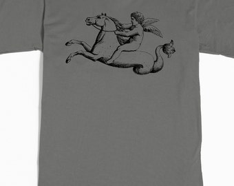 Men's T Shirt - Seahorse Cupid Tshirt - Cherub graphic tee - Fantasy Horse Angel