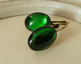 Earrings Glass Emeraldgreen