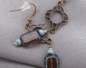 Czech Turquoise and Brown Glass Earrings//Boho//Dangles//60mm