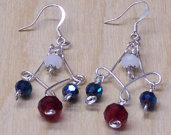 Red, White, and Blue-Green Bead and Silver Chandelier Earrings