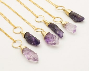 Raw Amethyst Necklace Gold Amethyst Crystal Pendant February Birthstone Rough Amethyst Crystal Point Necklace Geometric Boho Layer Necklace
