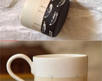 Unique Wheel Thrown Stoneware Mug, Pottery Coffee Mug, Handmade Mug, Pottery Gift, Hand Painted Mug, Durable Pottery, Collectors Mug