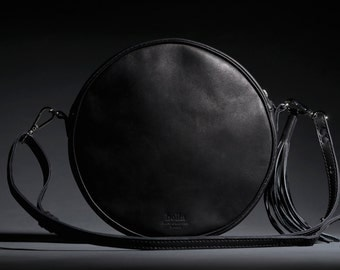 Leather Cross Body Bag, Round Leather Bag, Small Handbag, Crossbody Bag, Wife gift, Girlfriend gift, Black Leather Bag