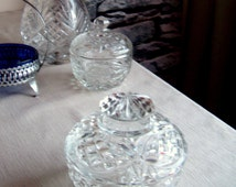Lead Crystal Hand Cut Candy Dish & Lid, Vintage Glassware