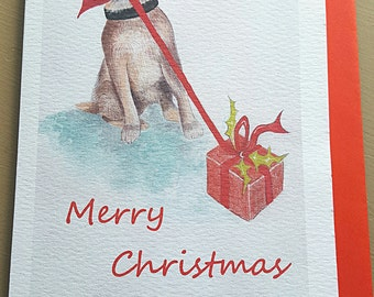 Multi pack Border Terrier Christmas card. Hand painted Christmas card. Christmas card. Dog Christmas cards. border terrier. animal card