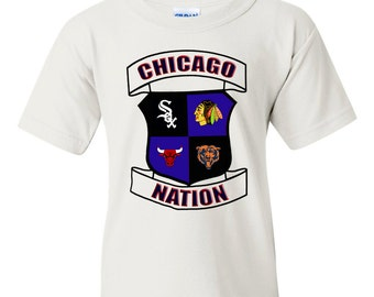 Chicago Nation Sports T-Shirt, White Sox, Blackhawks, Bears, Bulls, Chicago Sports team shirt, Chicago sports team logos baby and kid shirt