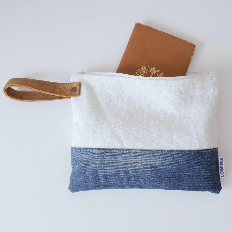 lin naturel et pochette en cuir sac pochette sac en jeans. Black Bedroom Furniture Sets. Home Design Ideas