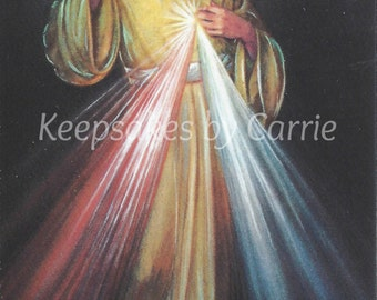 Divine Mercy Image - Personalized - Laminated - Sheet of 8