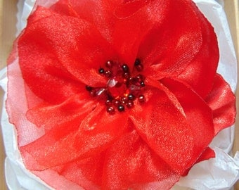 Sewn brooch, two fabrics pin, flower brooch, red brooch.