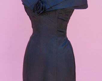 Black, 80s Prom, Vintage Dress // 1980s, Off The Shoulder, Cocktail Dress, Costume Party Dress, Women's Size Small