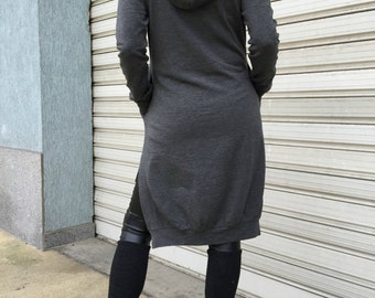Black Extravarant Maxi Asymmetric Hooded Top / Cotton Jersey Tunic Dress with Pockets / Women Sweatshirt  EXPRESS SHIPPING