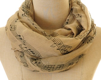 Music Note Scarf | Beige Music Scarf | Music Note Infinity Scarf | Piano Scarf | Musician Gift | Pianist Gift (S-104)