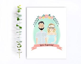Custom Illustration Half Portrait | Couple, Family, Pet Portrait Illustration | Wedding, Engagement, Pregnancy Announcement | Hand Drawn