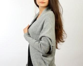Cocoon jacket, Grey cardigan, Knitted merino jacket, Merino cardigan, Open front cardigan, Loose fit jacket, Grey cocoon cardigan