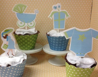 boy baby shower cupcake toppers decorations set of 10