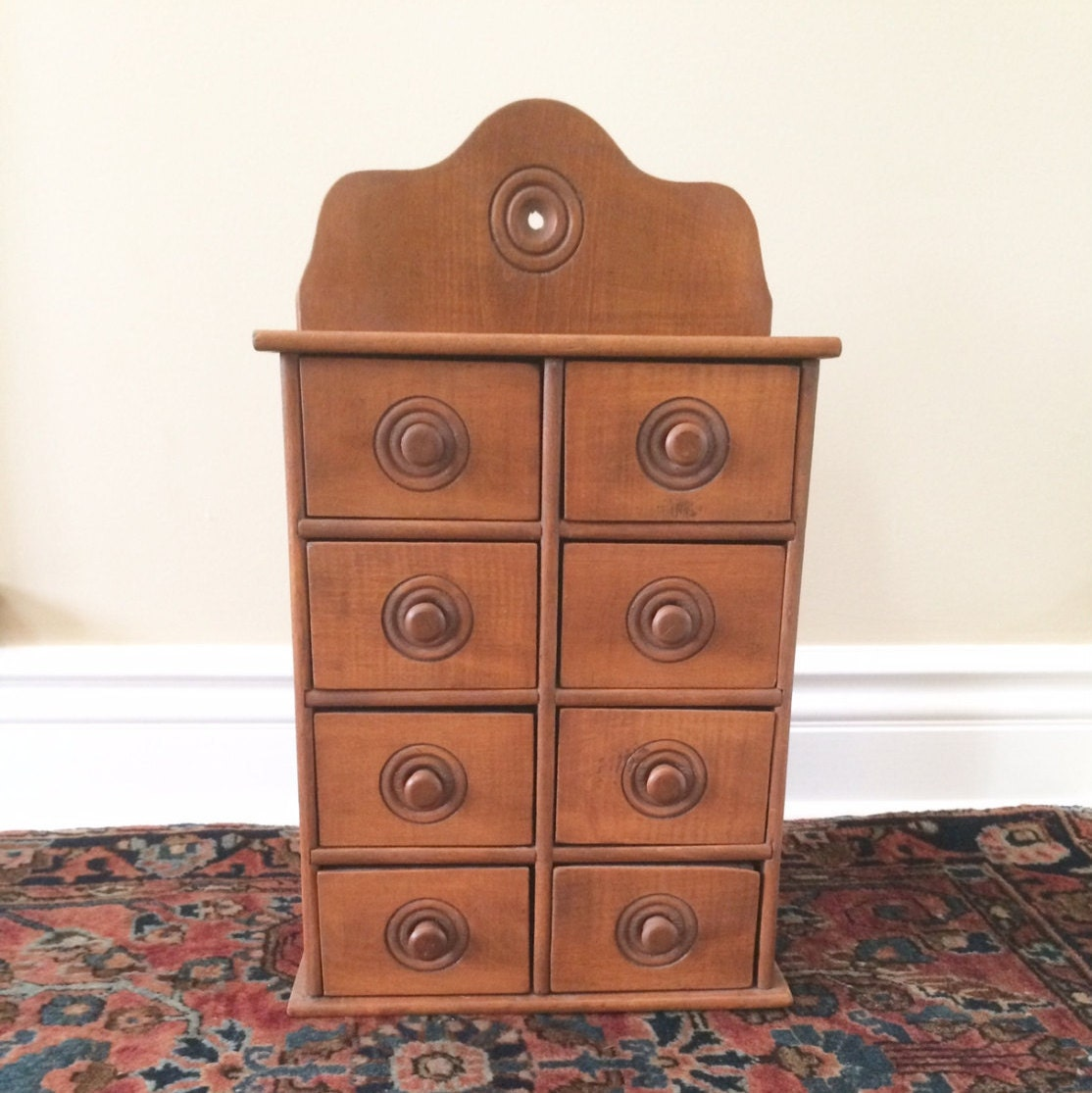 Antique Wood Spice Drawers Vintage Spice Cabinet By