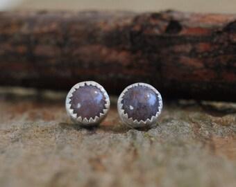 Post Earrings...Jasper Earrings Sterling Silver Petite 6mm Post Earrings Metalsmith Jewelry