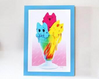 Ice Cream Cats Kittens Print Poster Vaporotem Yorogato