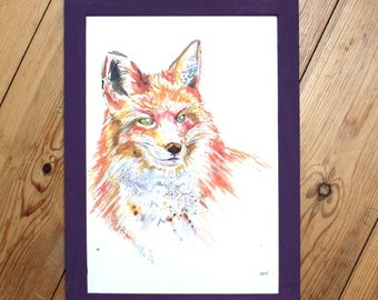 Watercolour Fox Print ~ fox print, fox art, animal art, fox watercolour, fox illustration, giclee print, wall art