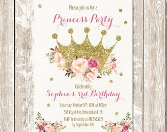 Printable Princess Invitation, Princess birthday invitation, Gold crown Thank you invitation, Glitter and pink printable, Princess invites