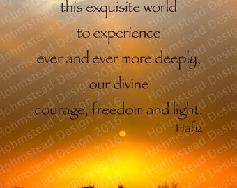 Hafiz: We have come into this world to experience our divine courage freedom and light