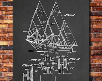 Sailing Boat Patent Print Art 1943