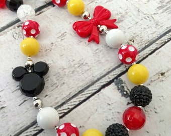 Minnie Mouse Necklace - Mickey Mouse Necklace - chunky necklace