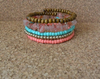 Coral, Gold, Turqouise and Wood Bracelet - Boho Memory Wire Wrap Bracelet