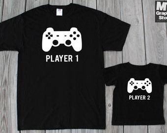 Gamer Shirt Daddy Son Matching Shirts Player 1 Player 2 Matching Shirts Father Son Matching Shirts Gaming Shirt PlayStation Shirt Video Game