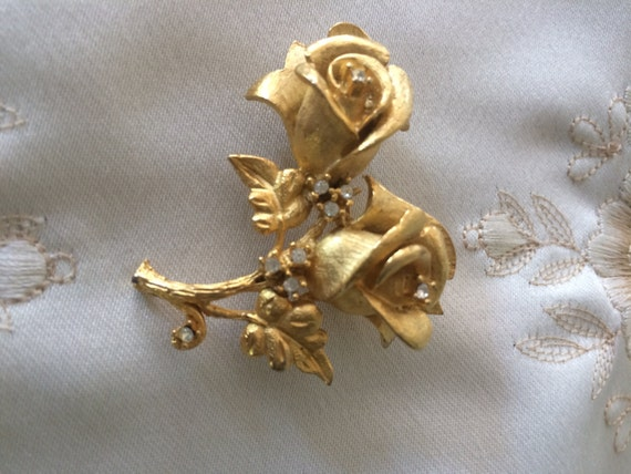 Vintage Erwin Pearl (Signed) Rose Pin with Rhinestones