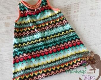 Rainbow honeycomb racerback baby dress - 12 month