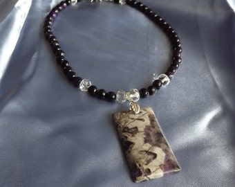 Purple/Gray Stone Pendant Necklace