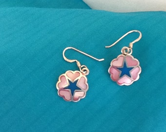 Sterling Silver Pierced EARRINGS~Mother of Pearl Inlay~Blue Enameled Star~Solid Back~ S.S. Wires~Dangle Earrings~ Vintage Jewelry~ 925 Siver