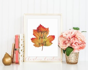 Happy Fall Y'all Watercolor Leaf Printable Wall Art. Seasonal Fall Wall Art. Autumn and Fall Printable. Seasonal Home Decor Instant Download