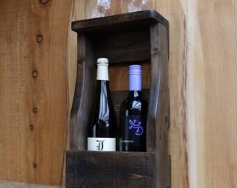 Rustic wine rack/ bottle holder with shelf - pallet wood wine storage / Dark Oak