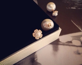 Pearl Stud Earring Rose Gold Flower Pearl Diamond Post Earring Wedding Bridal Bridesmaid  Elegant Valentine's Day Anniversary Birthday Gift