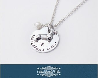 Hand Stamped Dachshund Mom Necklace!