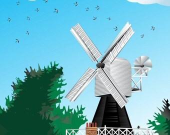 Wimbledon Windmill Poster Vintage Style London
