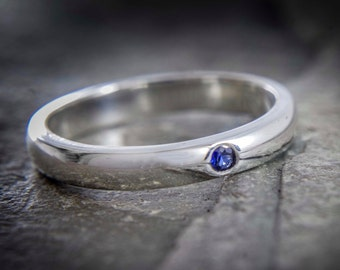Sapphire silver ring - Flush set simple ring - stacking ring - september birthstone - Available with other stones