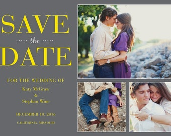 Gray and Yellow Save the Date Cards