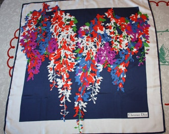 Gorgeous Vintage Christian Dior Printed Floral Silk Scarf