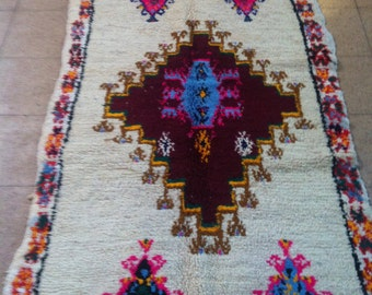 25% OFF NOW! Moroccan Contemporary, Luxurious, Colorful Handwoven Diamond Azilal Rug, Wool, 240 x 120 cm / 7.9 x 3.9 ft