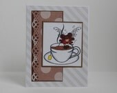 Tea Card, Coffee Card, Paper Handmade Greeting Card, Fairy Card, Fairies, All Occasion Card, Any Occasion Card, Tea Party, Homemade, Brown