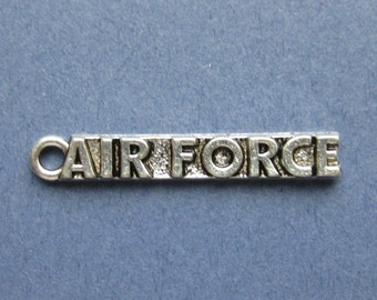 5 Air Force Charms - Air Force Pendants - Airforce - Air Force - Antique Silver - 22mm x 5mm -- (Q2-10670)