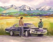 """CLEARANCE SALE Supernatural Art, Sam and Dean and Baby Print, Mountain View, 67 Impala Art Print 11"""" x 17"""" Fanart SPNFamily"""