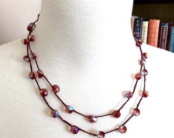Beaded Crochet Boho Glam 4-Way Long, Doubled, Lariat Necklace or 5x Wrap Bracelet / Scheherazade Red