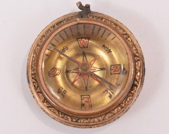 Antique COMPASS 14K Yellow Gold Pendant with Mother of Pearl (10.1g) As IS