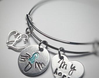 Ovarian Cancer Bracelet - Ovarian Cancer Survivor - Ovarian Cancer Jewelry - Teal Ribbon - Cancer Awareness Jewelry - Survivor Gift