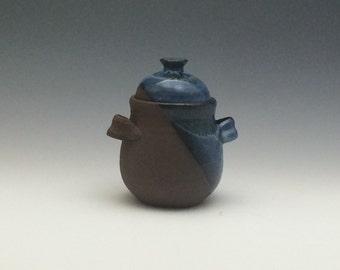 Chocolate Stoneware Serving Jar - ceramic sugar jar - pottery honey jar - handmade lidded jar - blue lidded jar - storage jar - Storage Jars